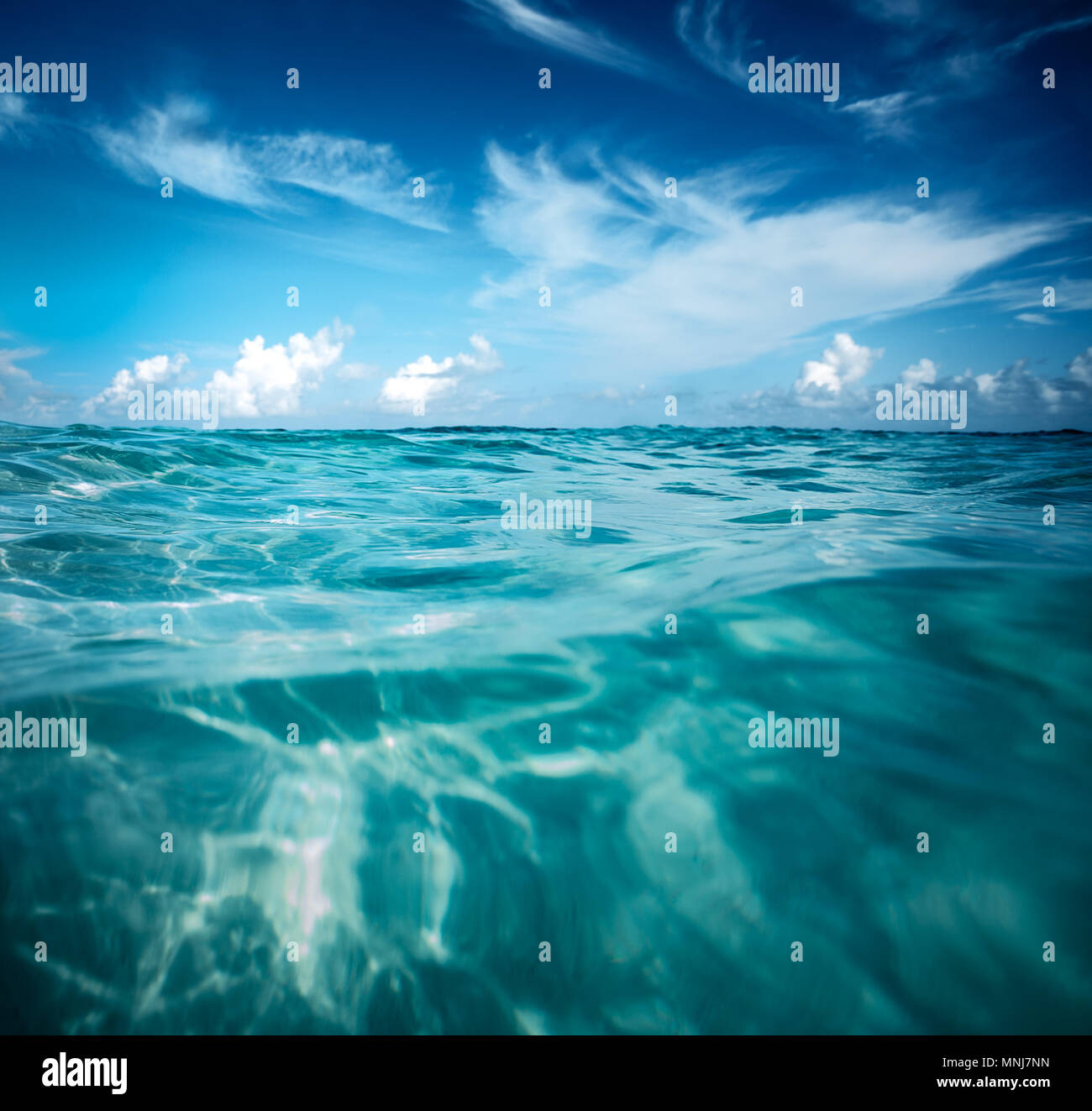Beautiful Seascape Background Amazing View Of Transparent Turquoise Water And Blue Sky Good Warm Sunny Day Summer Vacation On The Beach Stock Photo Alamy