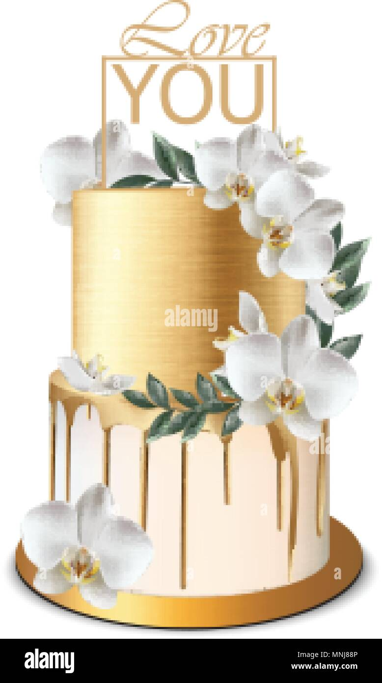 Luxury Gold Cake Vector Realistic Birthday Anniversary Wedding Delicate Royal Dessert Stock Vector Image Art Alamy