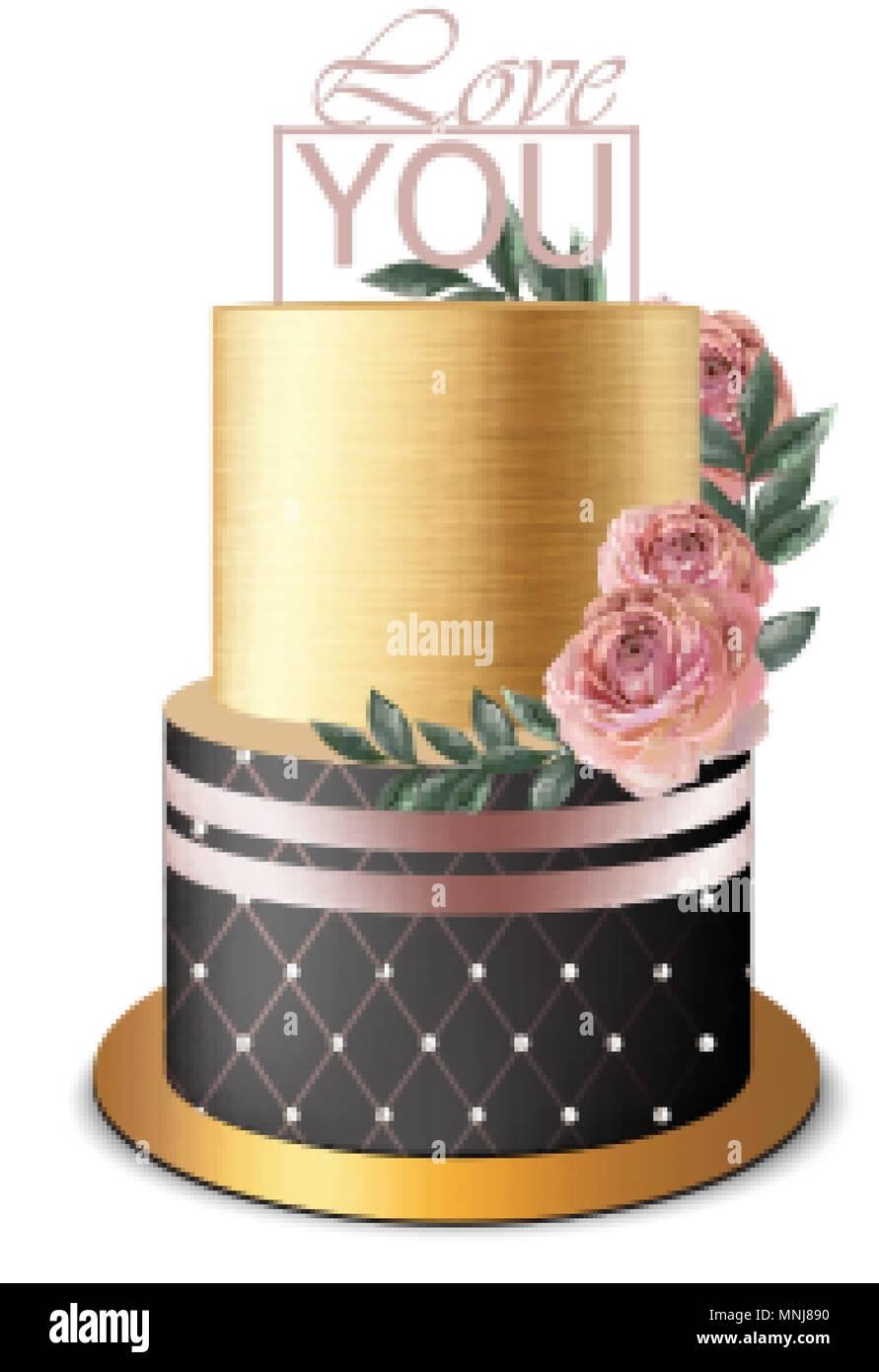 Swell Luxury Gold Cake Vector Realistic Birthday Anniversary Wedding Funny Birthday Cards Online Necthendildamsfinfo