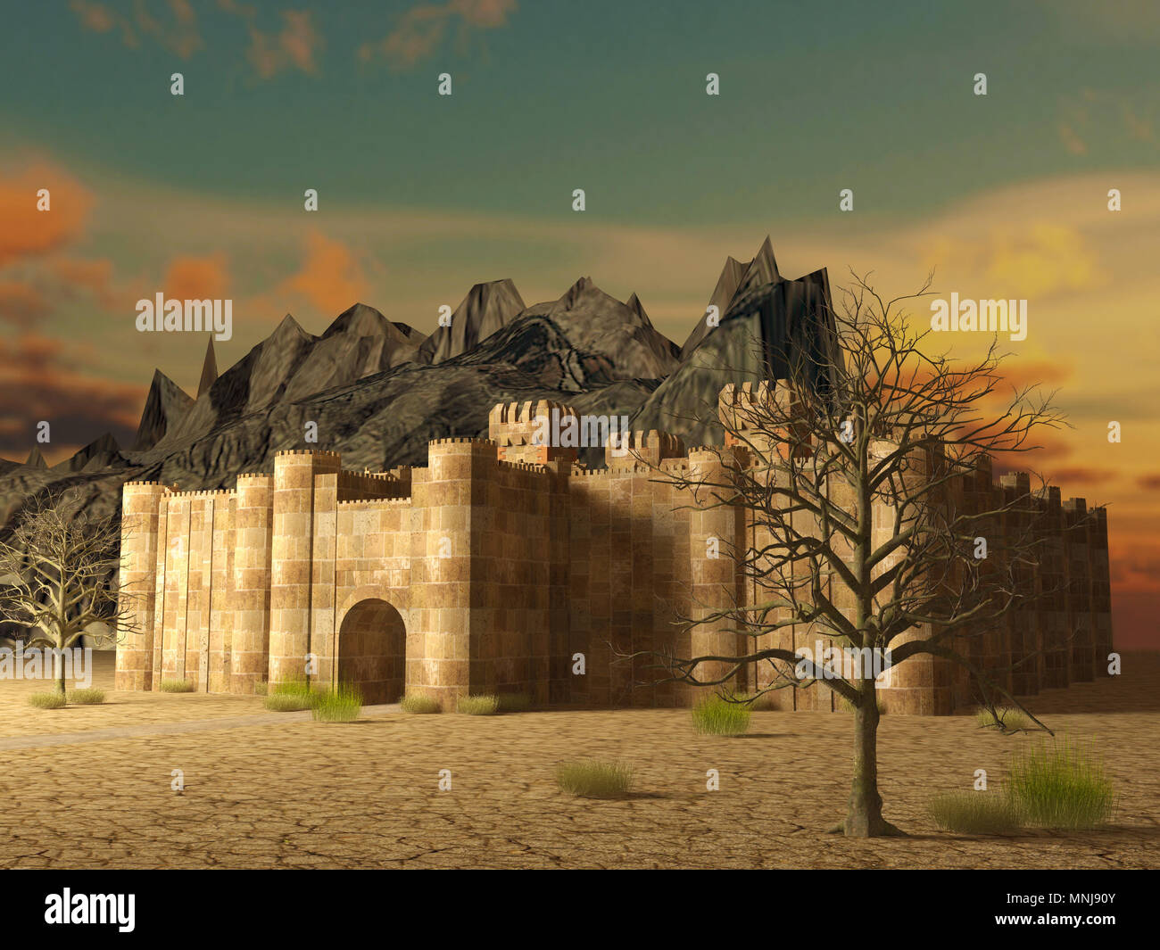 3d render medieval stronghold building exterior locates on cracked ground - Stock Image