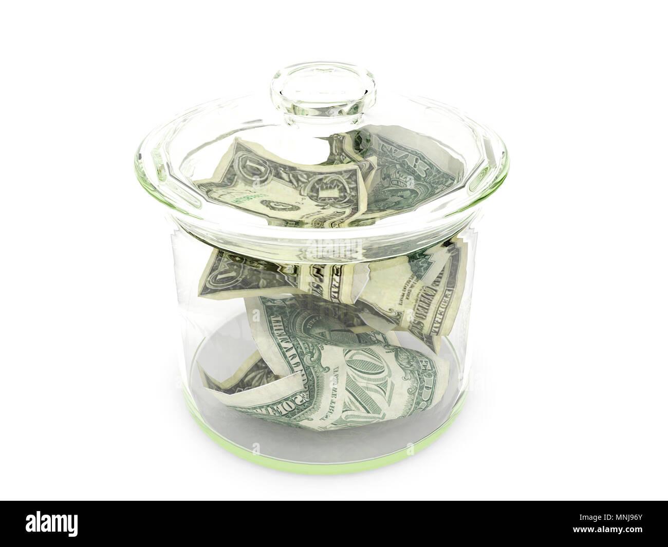 Dollar money in glass bottle isolated on white background, money saving concept - Stock Image