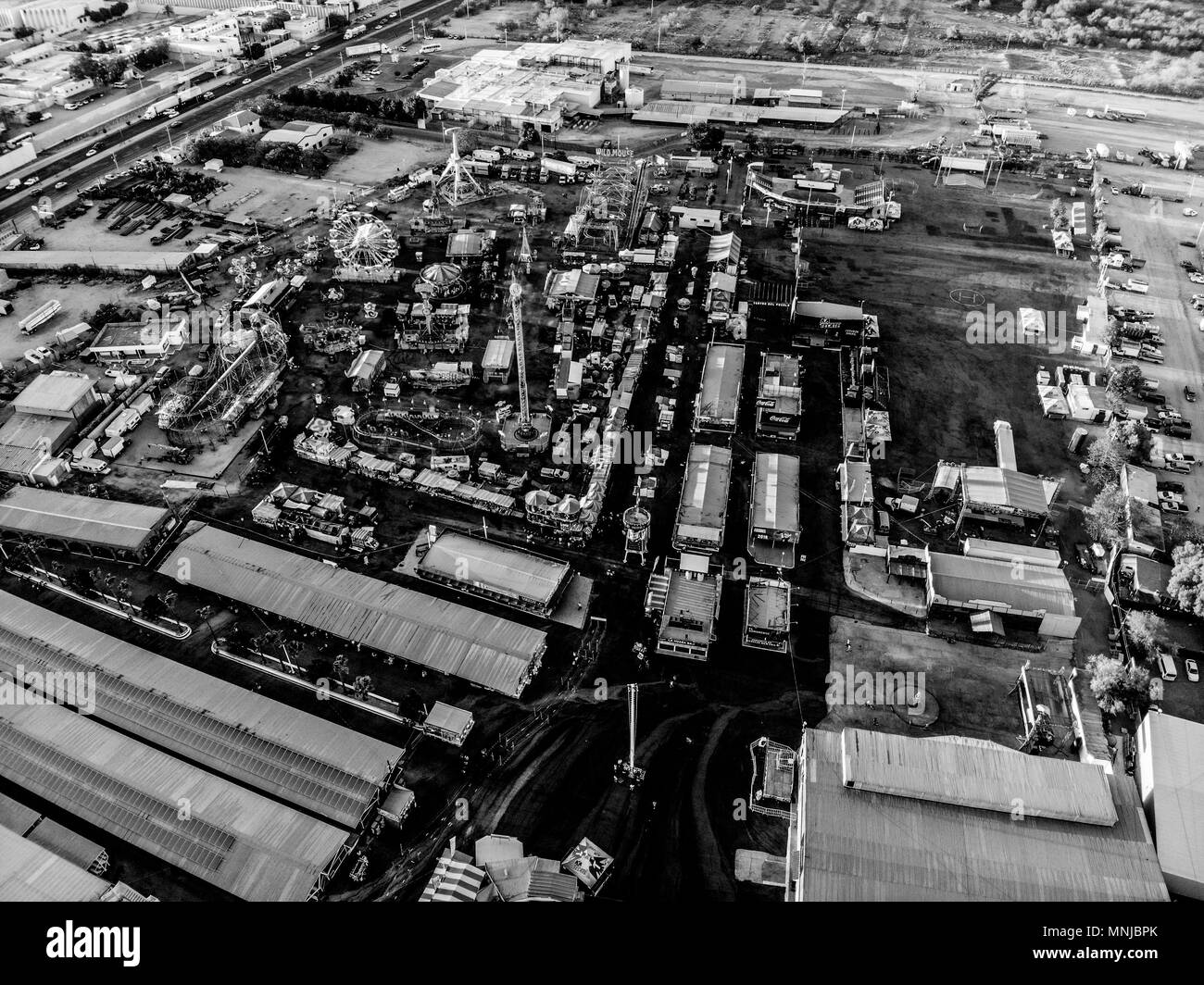 Aerial view of the Rodeo arena, rides and facilities and corrals of the expo or Ganadera de Sonora Mexico fair (UGRS). Hermosillo Sonora. - Stock Image