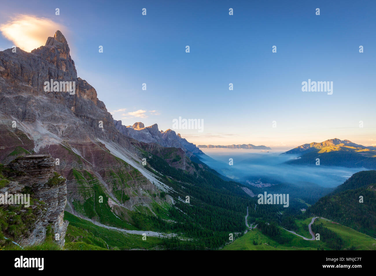 The Rolle Pass (Italian: Passo Rolle) at sunrise, Trentino, Italy - Stock Image