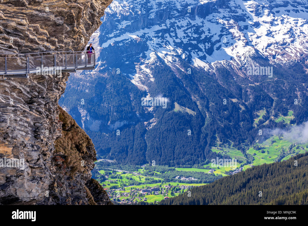 Mountain platform First Cliff Walk by Tissot, Grindelwald, Bernese Oberland, Switzerland - Stock Image