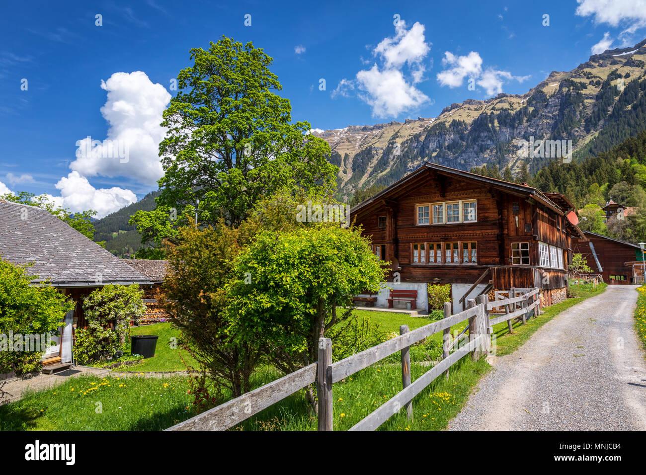 Traditional wooden house near Lauterbrunnen, Interlaken-Oberhasli, Bern, Switzerland - Stock Image