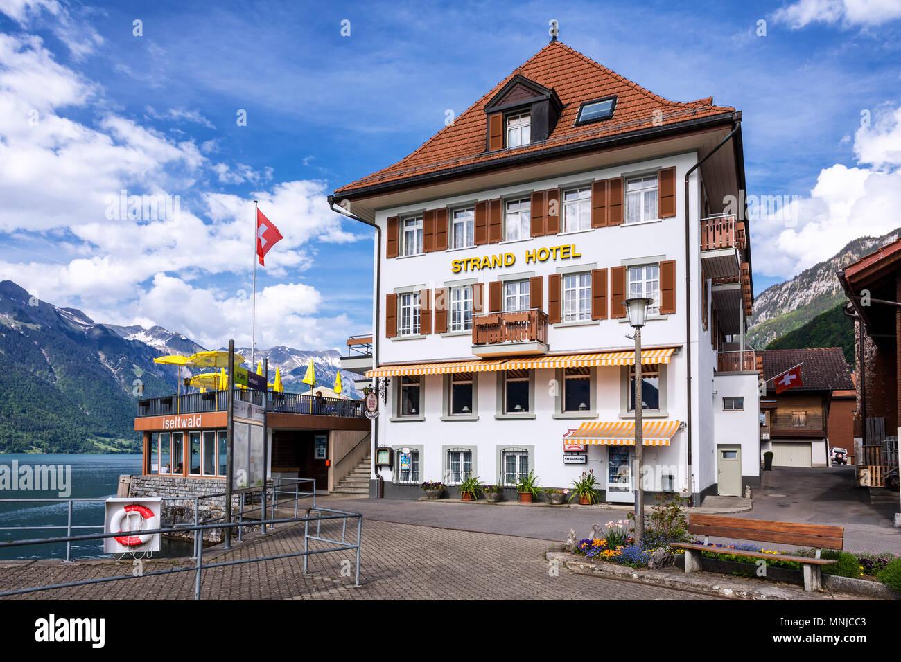 Strand Hotel, Iseltwald, Bernese Oberland, Switzerland - Stock Image