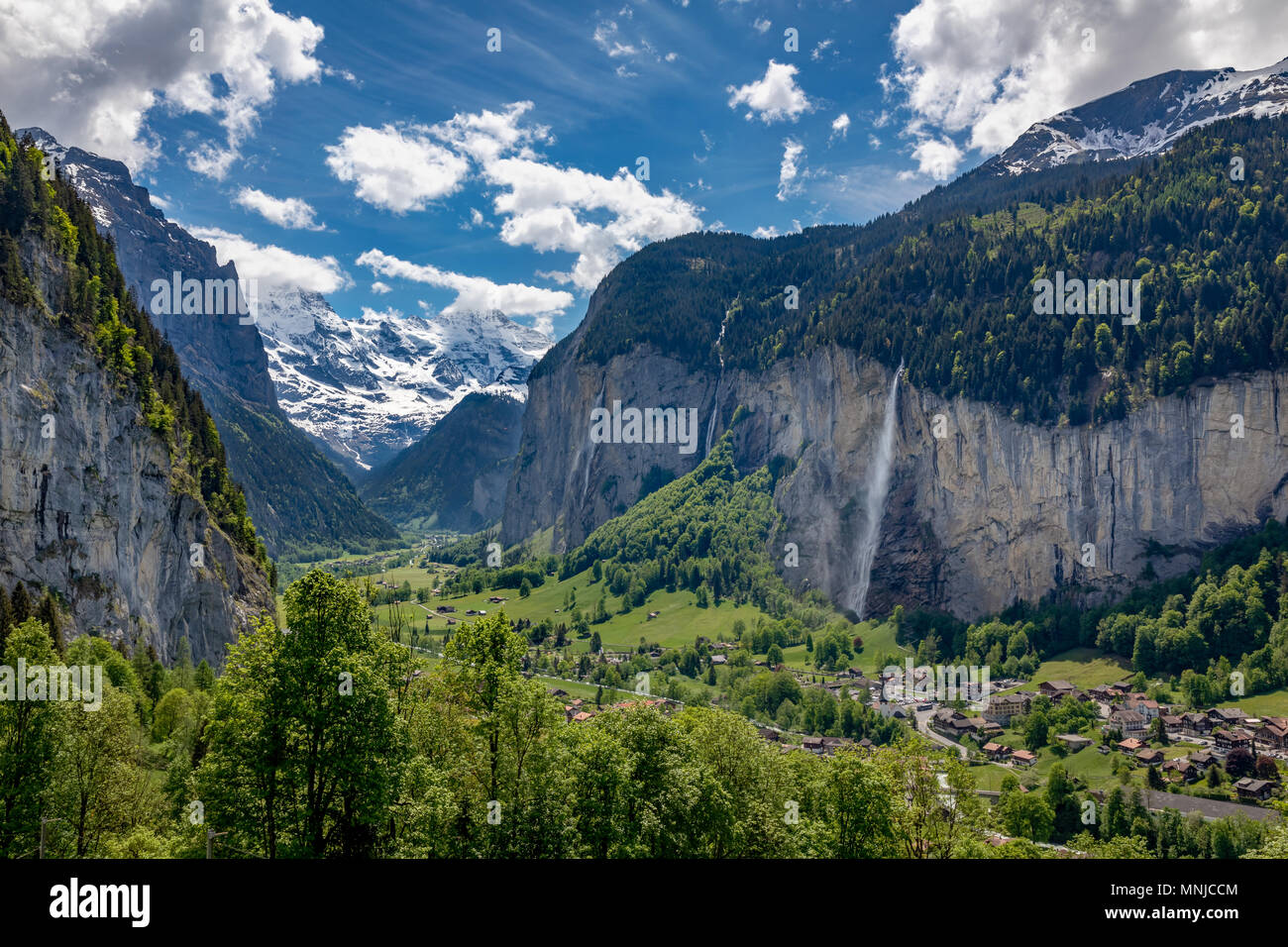 View of Lauterbrunnen with Staubbach Falls, Interlaken-Oberhasli, Bern, Switzerland Stock Photo