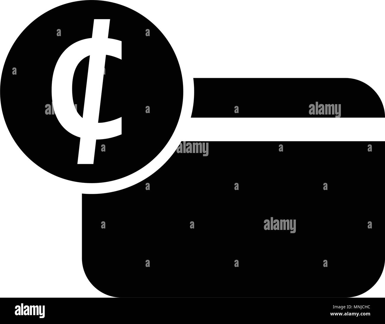 Ghana Cedi credit card icon, isolated on white background - Stock Image