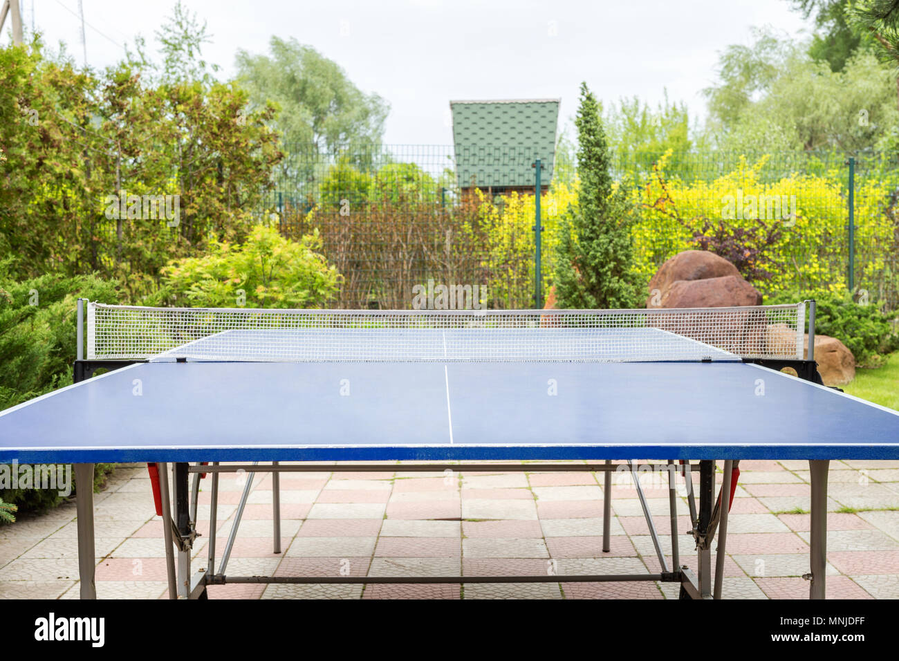 Blue Ping Pong Table Outdoors. Table Tennis Equipment In Park. Front View,  Product Display
