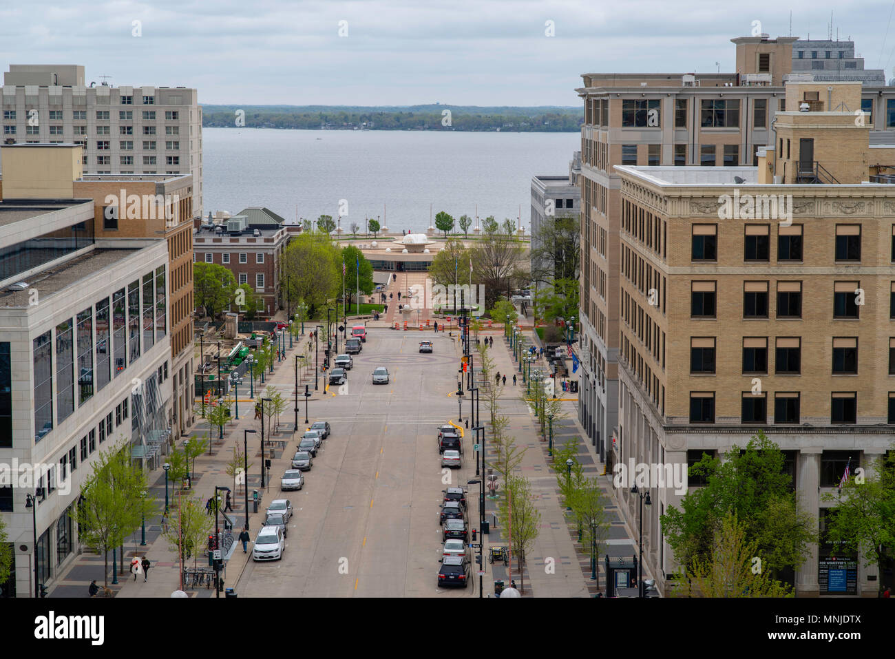 High angle view of Madison, Wisconsin, Martin Luther King Boulevard and the Monona Terrace Convention Center, taken from the Wisconsin State Capitol O - Stock Image