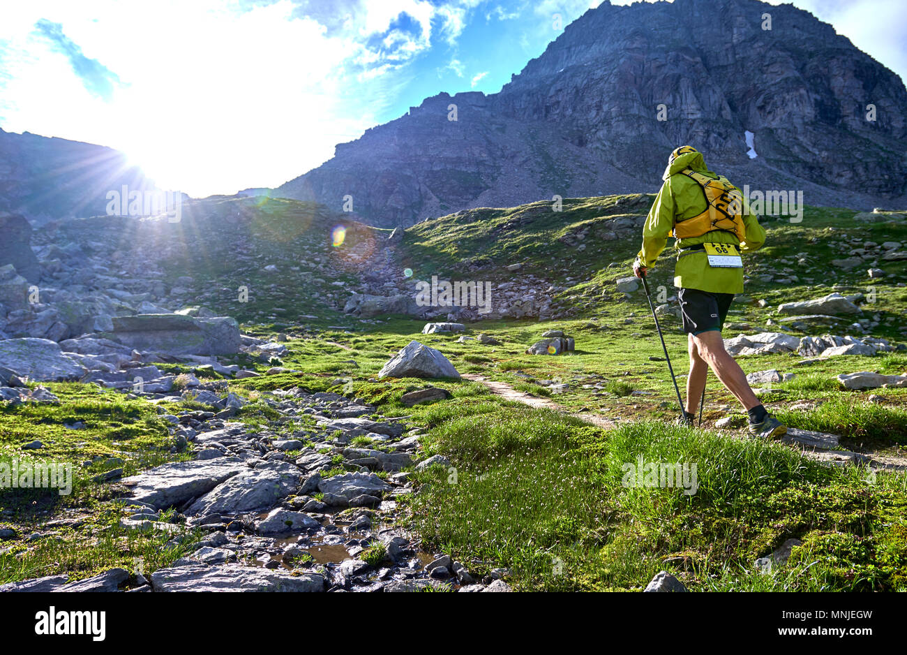 Rear view of trail runner walking up steep mountain path, Alpe Devero, Verbania, Italy - Stock Image