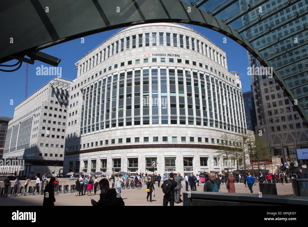 Thomson Reuters offices in Canary Wharf, London - Stock Image