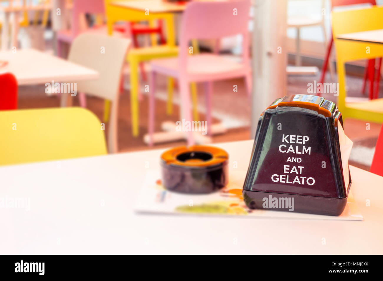 Ice Cream Parlor Restaurant Table With Napkin Holder Advertising - Restaurant table advertising