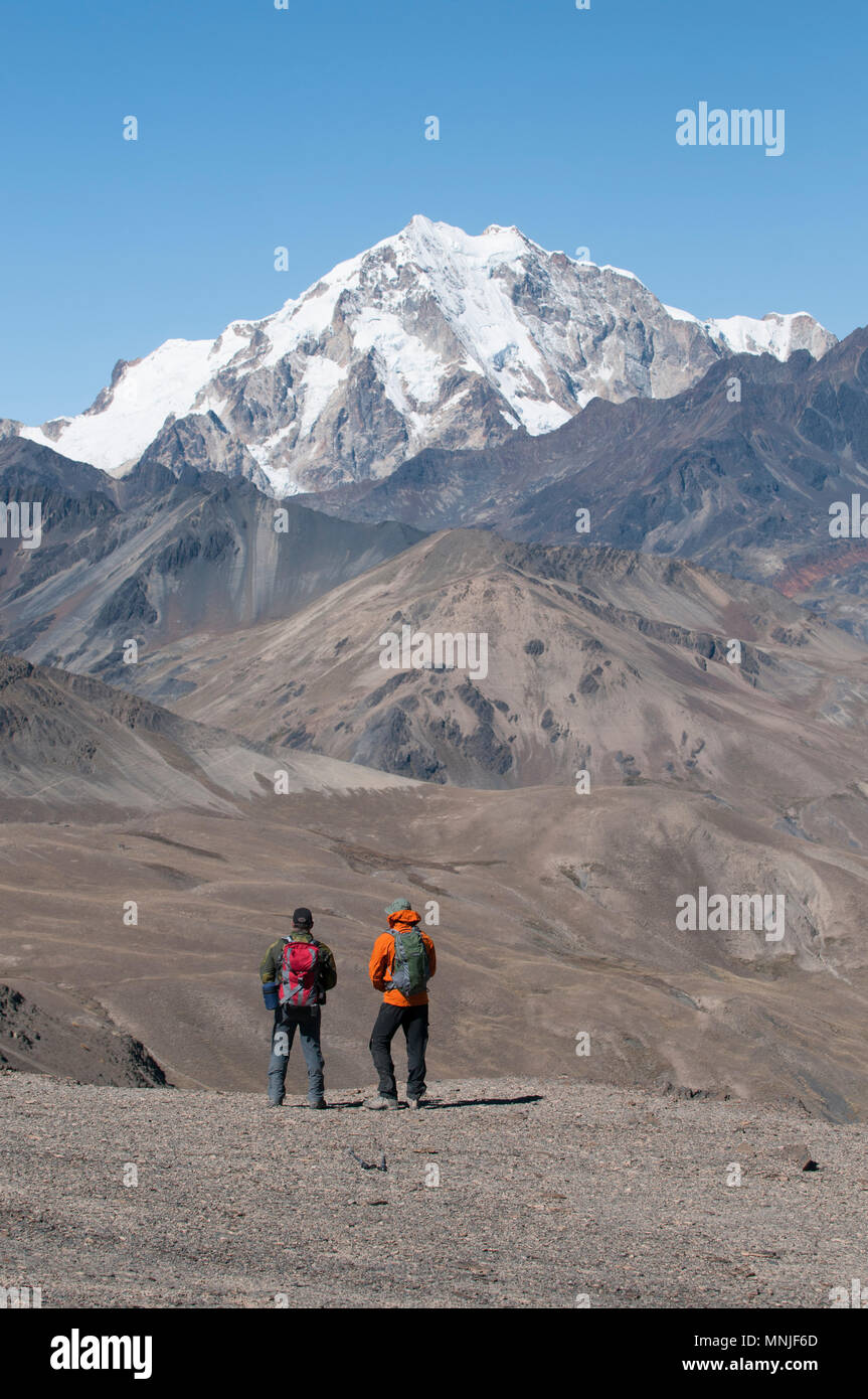 Looking toward Huayna Potosi while treking in the Cordillera Real region of the Bolivian Andes. - Stock Image