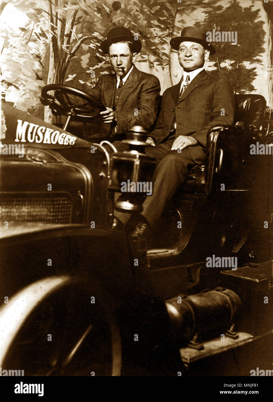 Portrait sitting in Vintage Car Stock Photo