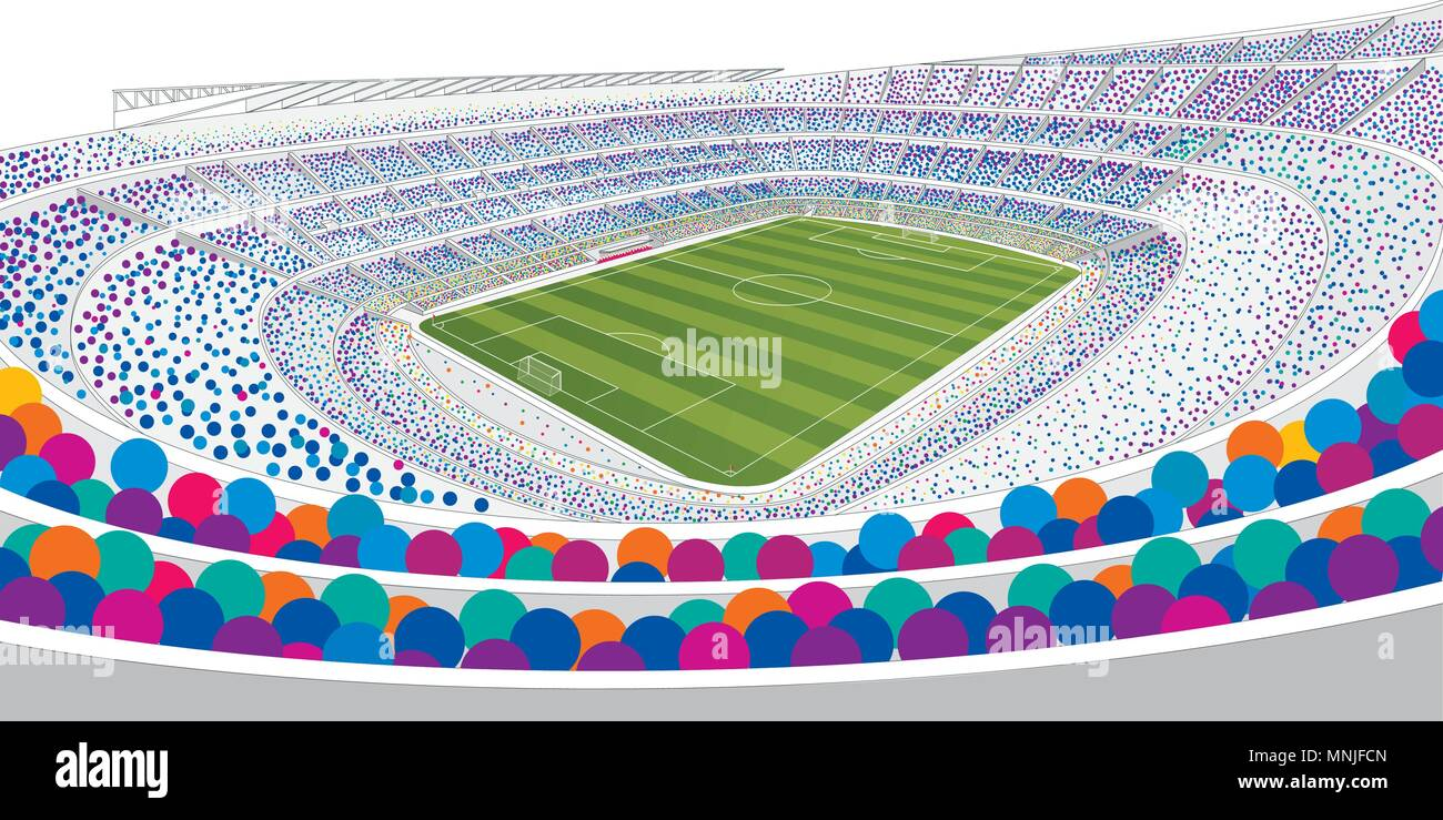 empty goal in filled football high resolution stock photography and images alamy alamy