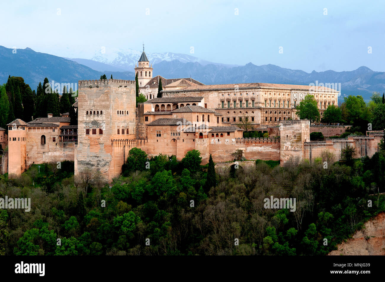 The Alhambra palace in the Spanish city of Granada was built by the Moors in an imposing Islamic style of architecture and is a world heritage site. - Stock Image
