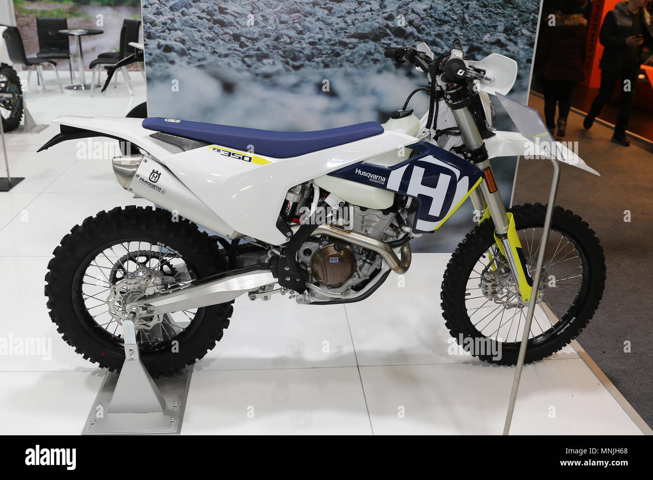 ISTANBUL, TURKEY - FEBRUARY 25, 2018: Husqvarna FE 350 on display at Motobike Istanbul in Istanbul Exhibition Center - Stock Image