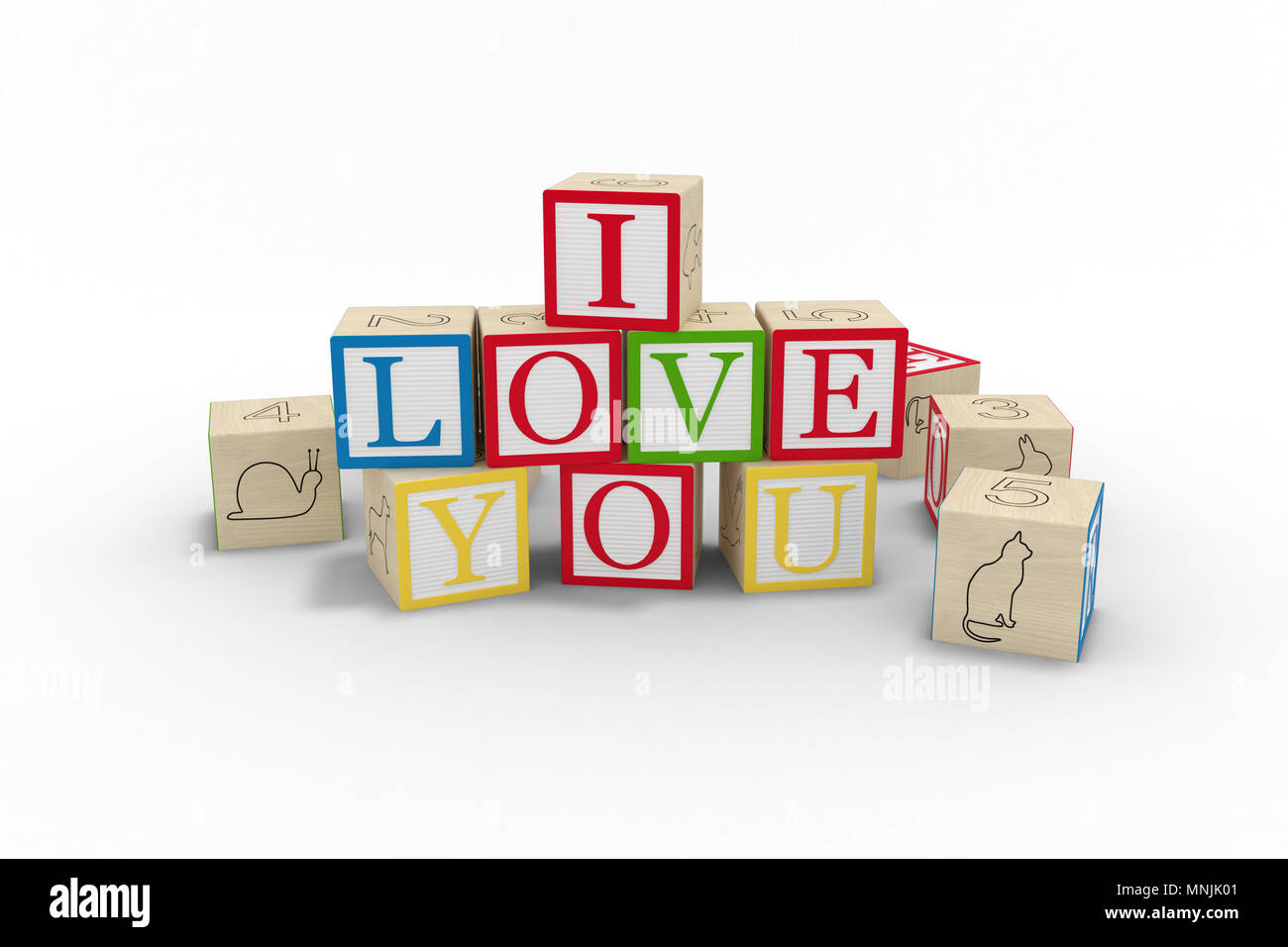 Wooden Toy Blocks Spelled Out I Love You On White Background Stock