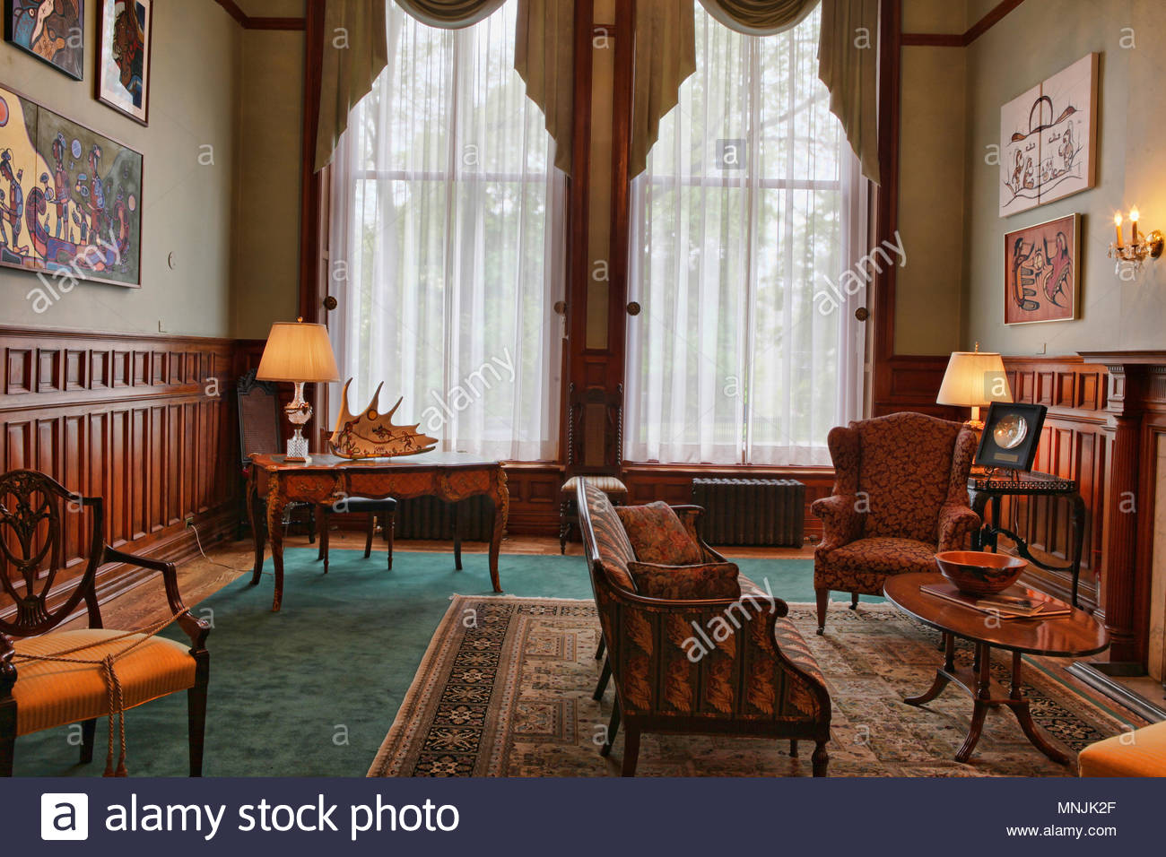 The Northern Room inside the Ontario Legislative Building. The Ontario Legislative Building houses the viceregal suite of the Lieutenant Governor of O Stock Photo