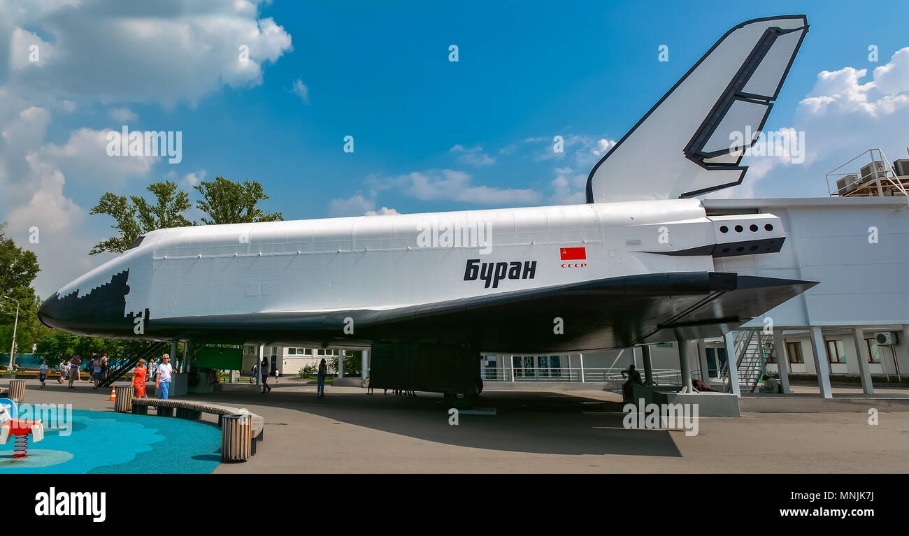 Soviet reusable space shuttle 'Buran' at an exhibition - Stock Image