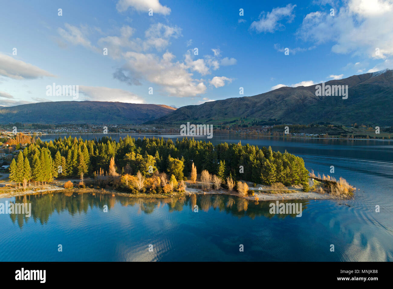 Eely Point, Lake Wanaka, in autumn, Otago, South Island, New Zealand - drone aerial - Stock Image