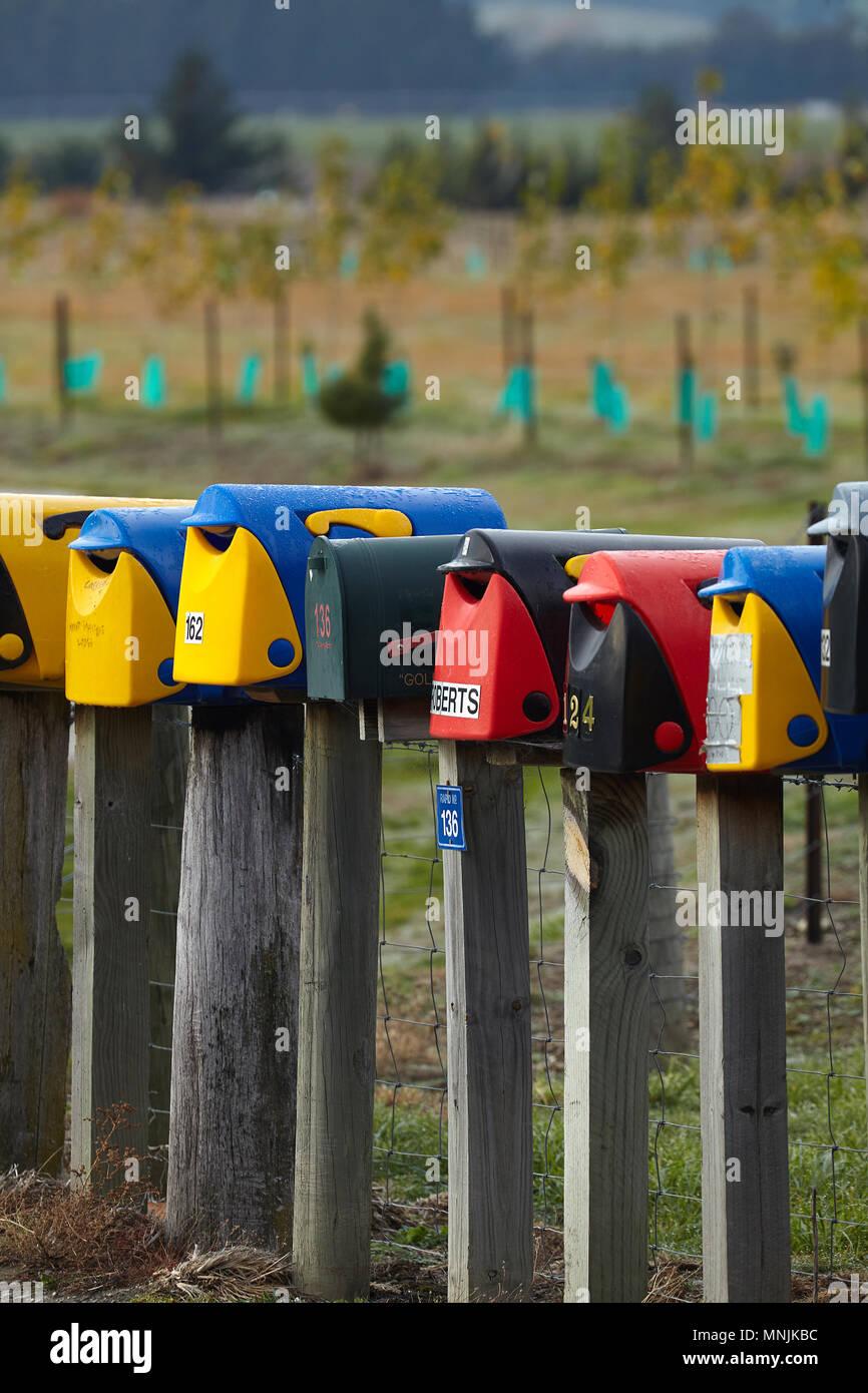 Rural letterboxes, Hawea, near Wanaka, Otago, South Island, New Zealand - Stock Image
