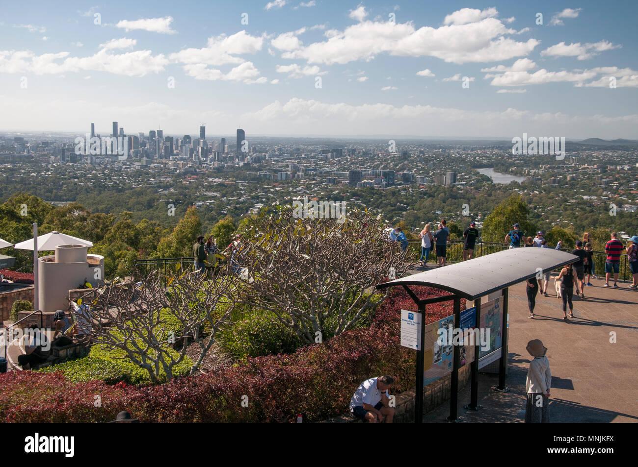 Brisbane city skyline from Mt Coot-tha, Brisbane, Queensland, Australia - Stock Image