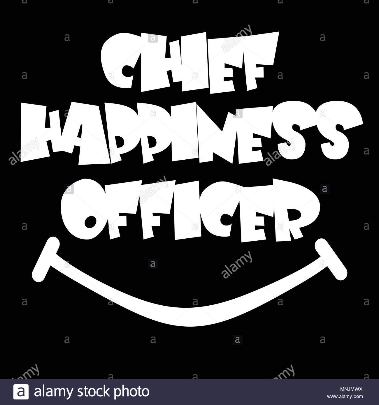 Digitial Illustration. Chief Happiness Officer. In the some businesses the well being of employees is held in such regard that they have employees who - Stock Image