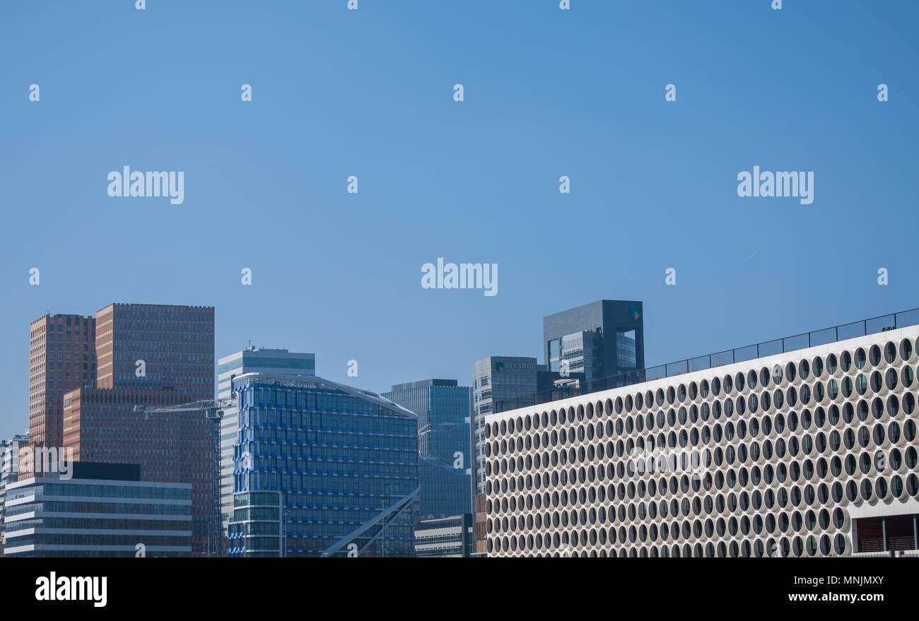 Dutch skyscrapers with office buildings on the Zuidas of Amsterdam - Stock Image
