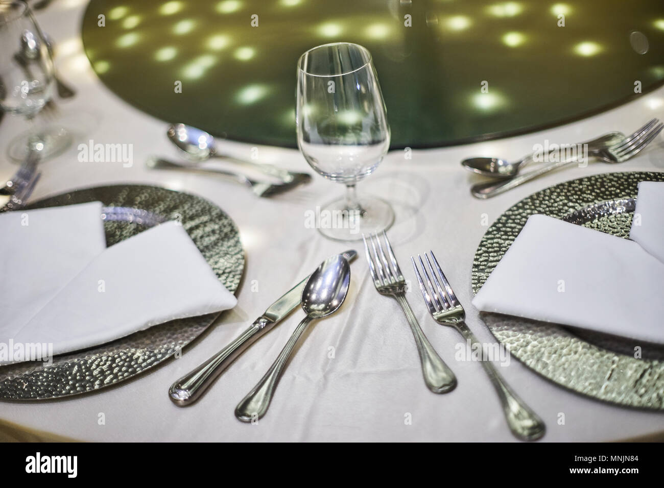 The closeup shot of wedding reception dinner table setup with the ...