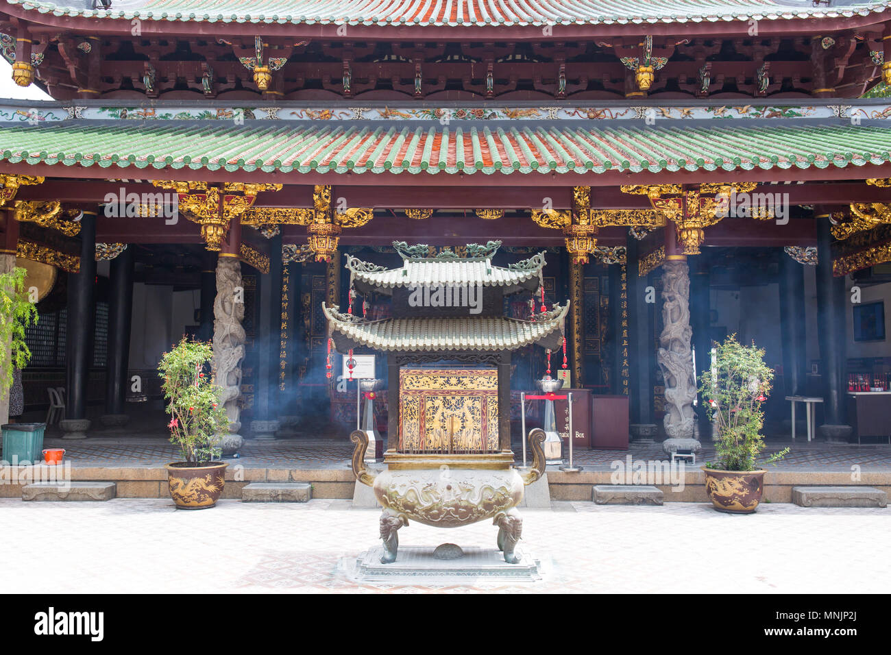 Close up front view of Thian Hock Keng Temple in Singapore, a widely popular sightseeing for tour groups. - Stock Image