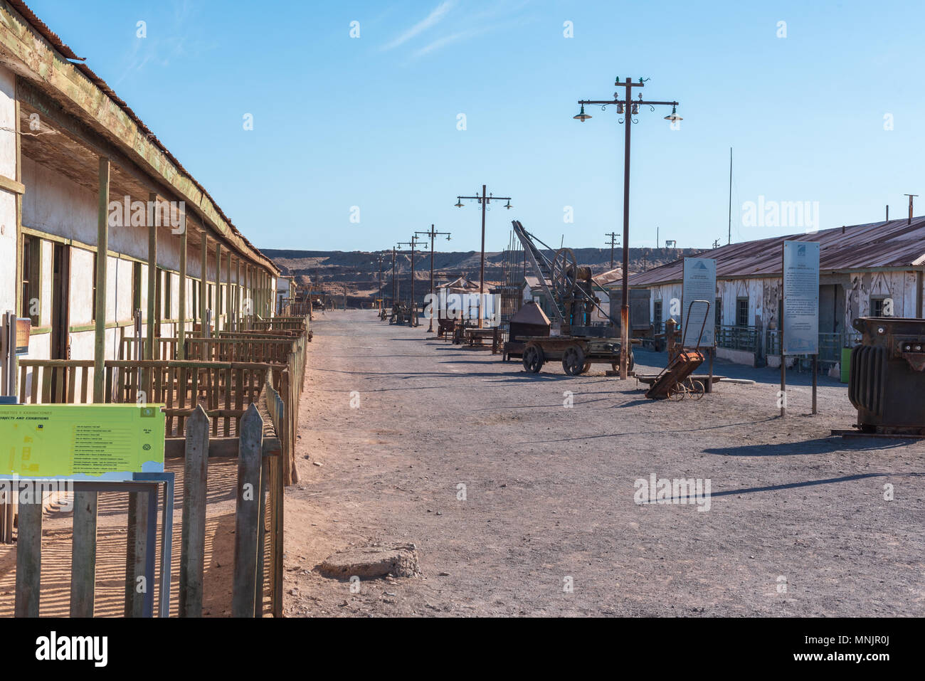 Humberstone, Chile--April 9, 2018. Humberstone, Chile, an abandoned mining town, now preserved as a museum ghost town. - Stock Image