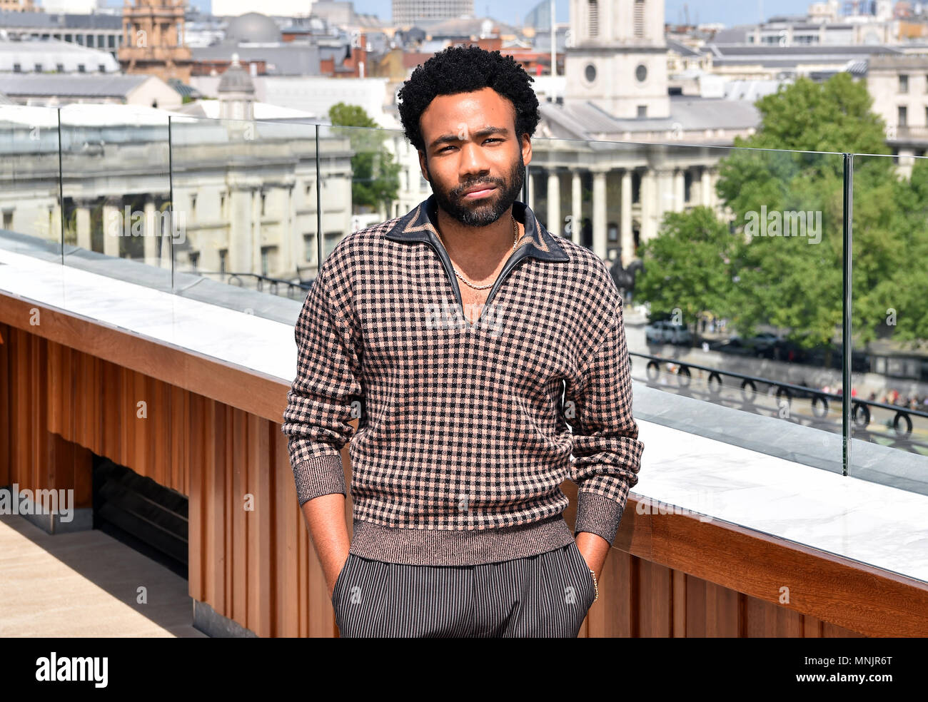 Donald Glover attending the photocall for Solo: A Star Wars Story at The Trafalgar St. James, London. - Stock Image