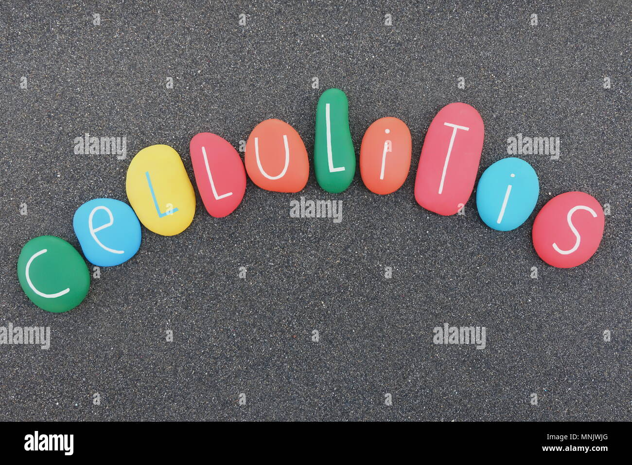 Cellulitis text word with multicolored sea stones over black volcanic sand Stock Photo
