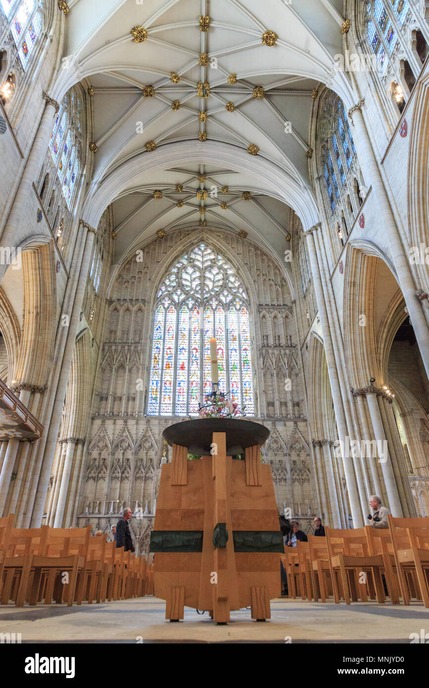 The English Gothic style Cathedral and Metropolitical Church of Saint Peter  in York, or York Minster. Decorated Gothic Nave.