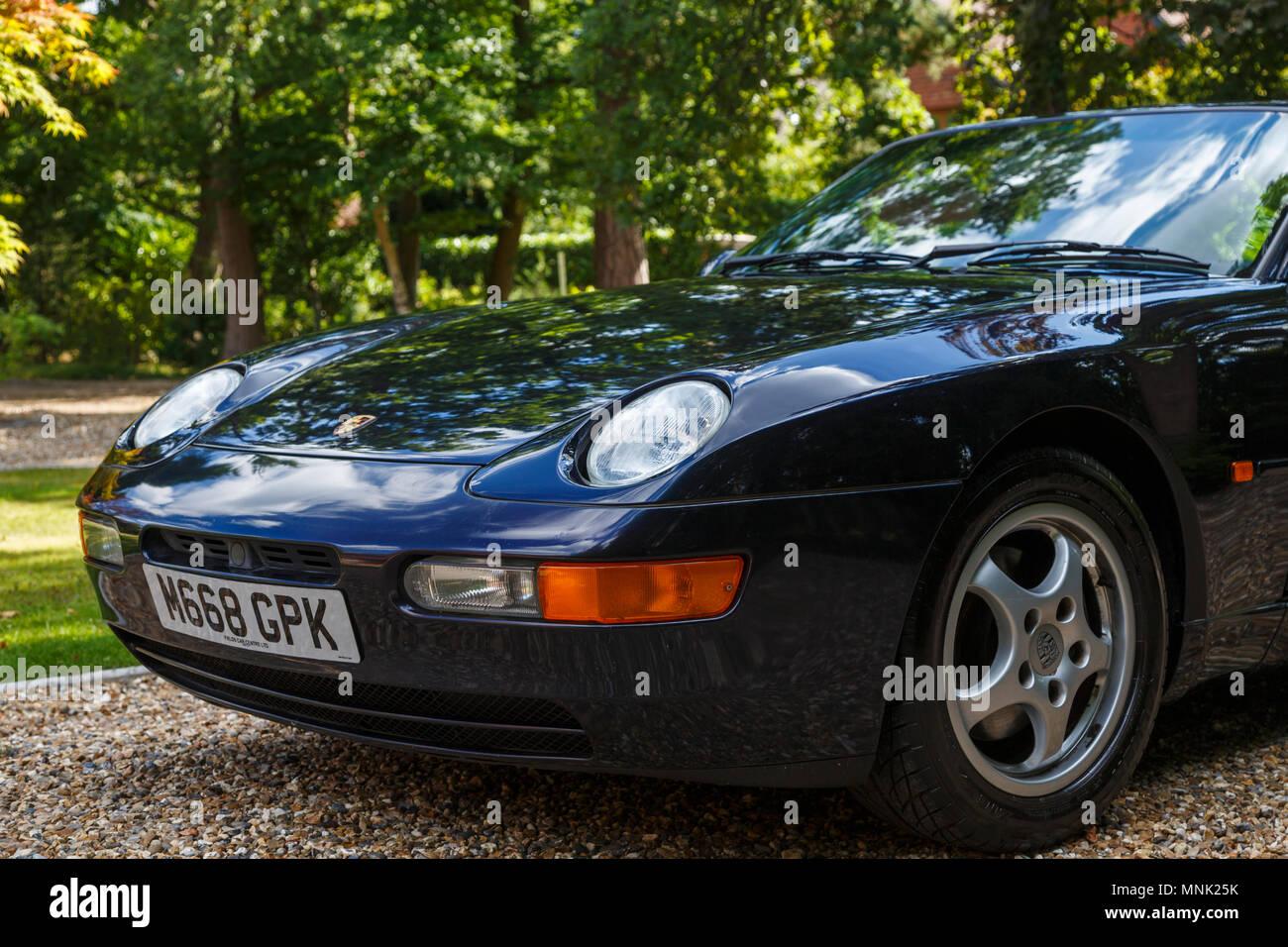 Front Bonnet Of A Classic Vintage Porsche Sports Car A Metallic Midnight Blue Porsche 968 Stock Photo Alamy