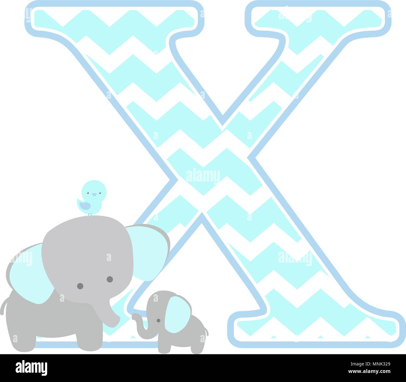 54d356e75a5c3 initial x with cute elephant and little baby elephant isolated on ...