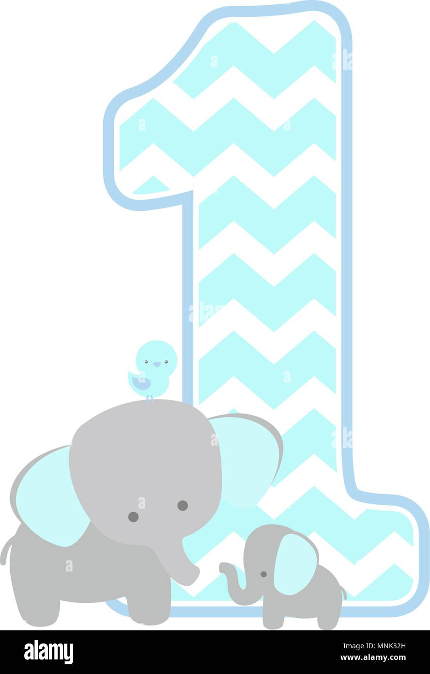 Number 1 With Chevron Pattern Cute Elephant And Little