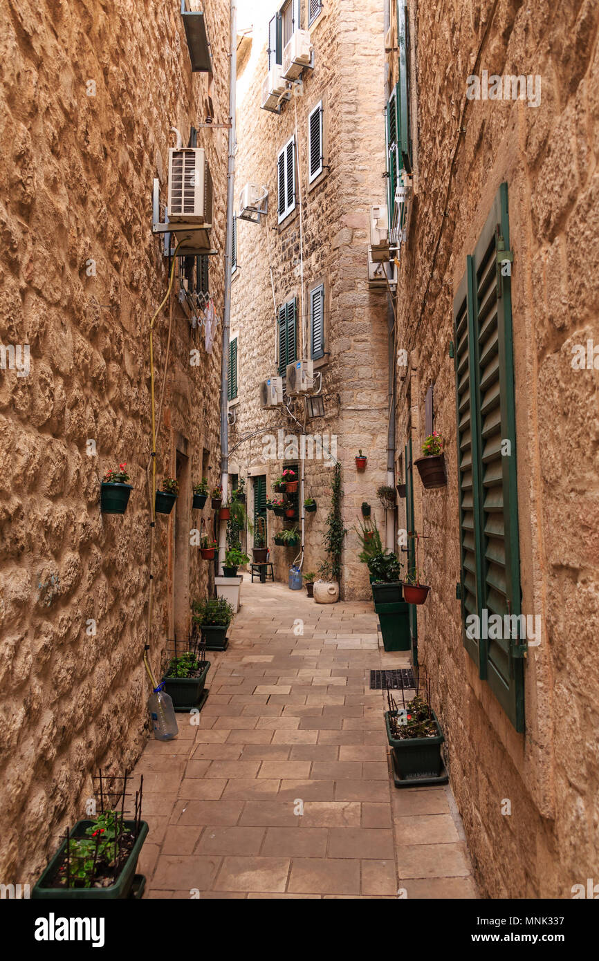 Stone Walls and Kotor Alley - Stock Image