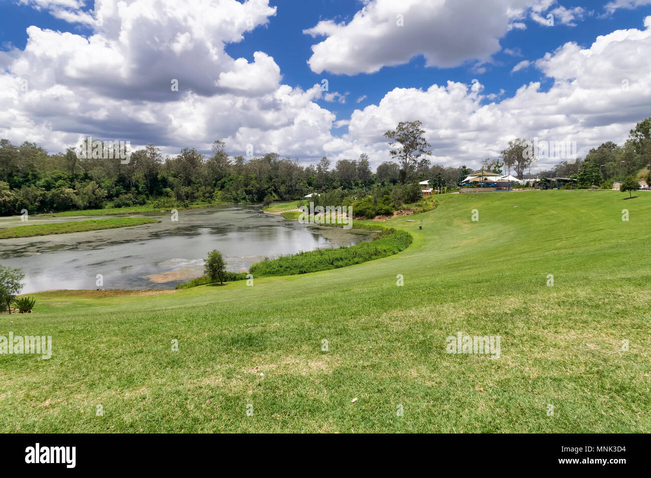 Colleges Crossing is over the upper reaches of the Brisbane river.  Parkland has been provided for families to enjoy and the fishing is very good - Stock Image