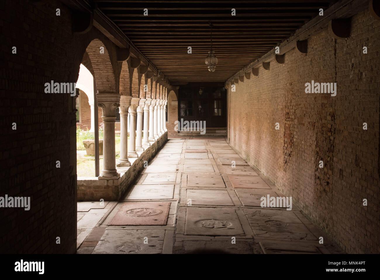 a cross corridor in a monastery in Venice - Stock Image