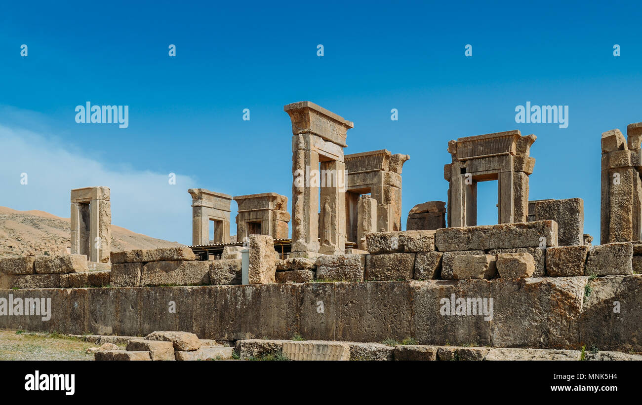 Persepolis, Iran - April 28, 2018: Persepolis was the ceremonial capital of the Achaemenid Empire ca. 550 330 BC - Stock Image