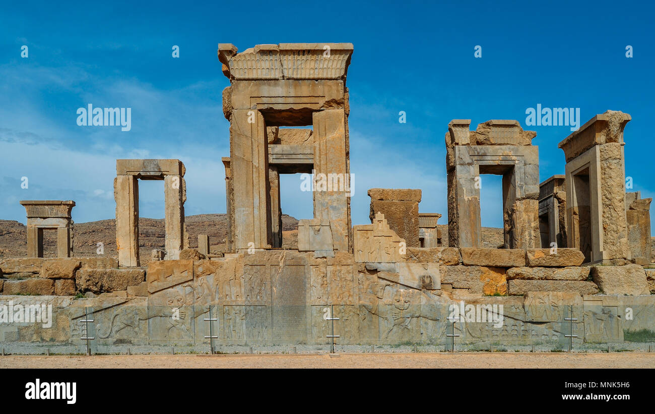 Persepolis, Iran - April 28, 2018: Persepolis was the ceremonial capital of the Achaemenid Empire ca. 550 330 BC - Stock Image