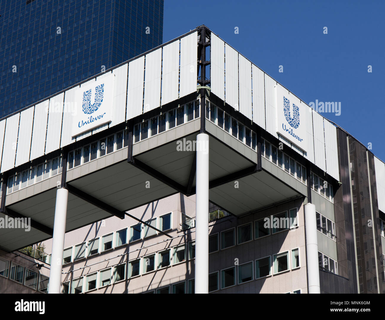 Rotterdam, Netherlands -may 8, 2018: Unilever building in Rotterdam, Netherlands - Stock Image
