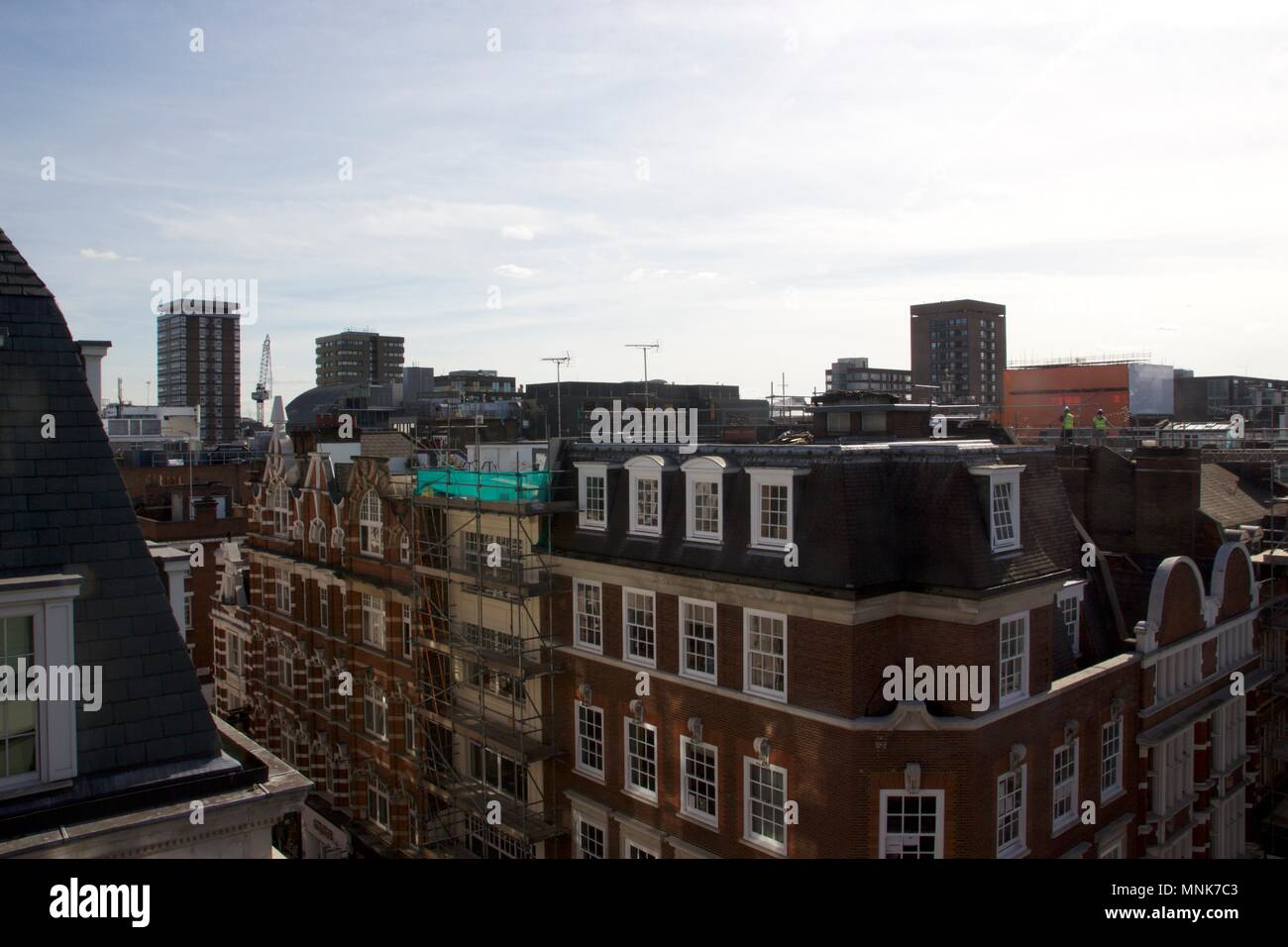 Rooftop view from Wardour Street, Soho, London - Stock Image