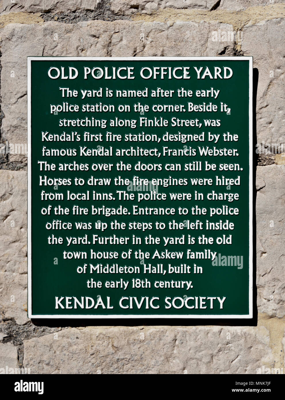 Kendal Civic Society Information Plaque. Old Police Office Yard, Market Place, Kendal, Cumbria, England, United Kingdom, Europe. - Stock Image