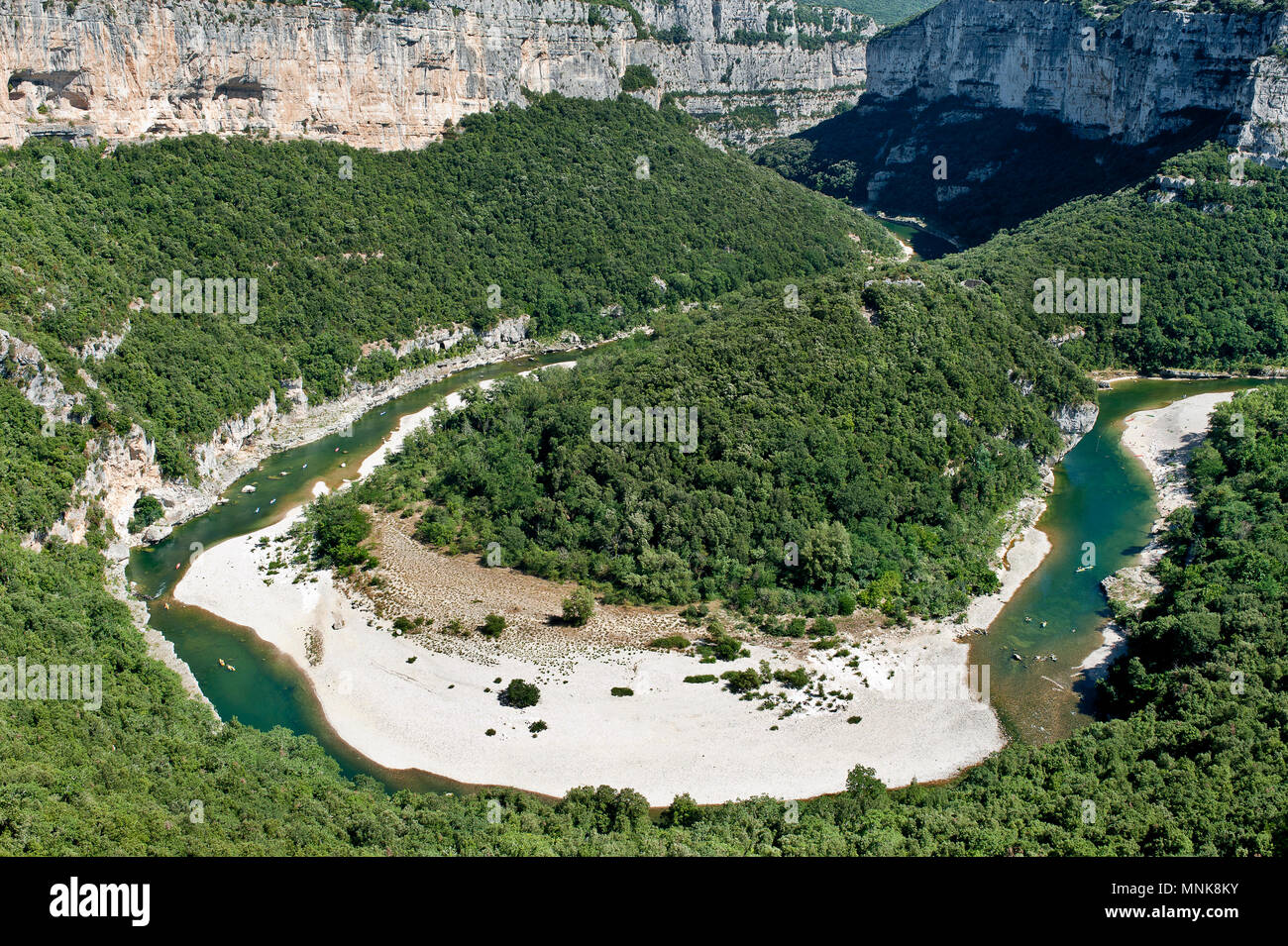 Landscape of the Ardeche Gorges (south-eastern France): meanders of the Ardeche river viewed from the Templiers panoramic viewpoint - Stock Image