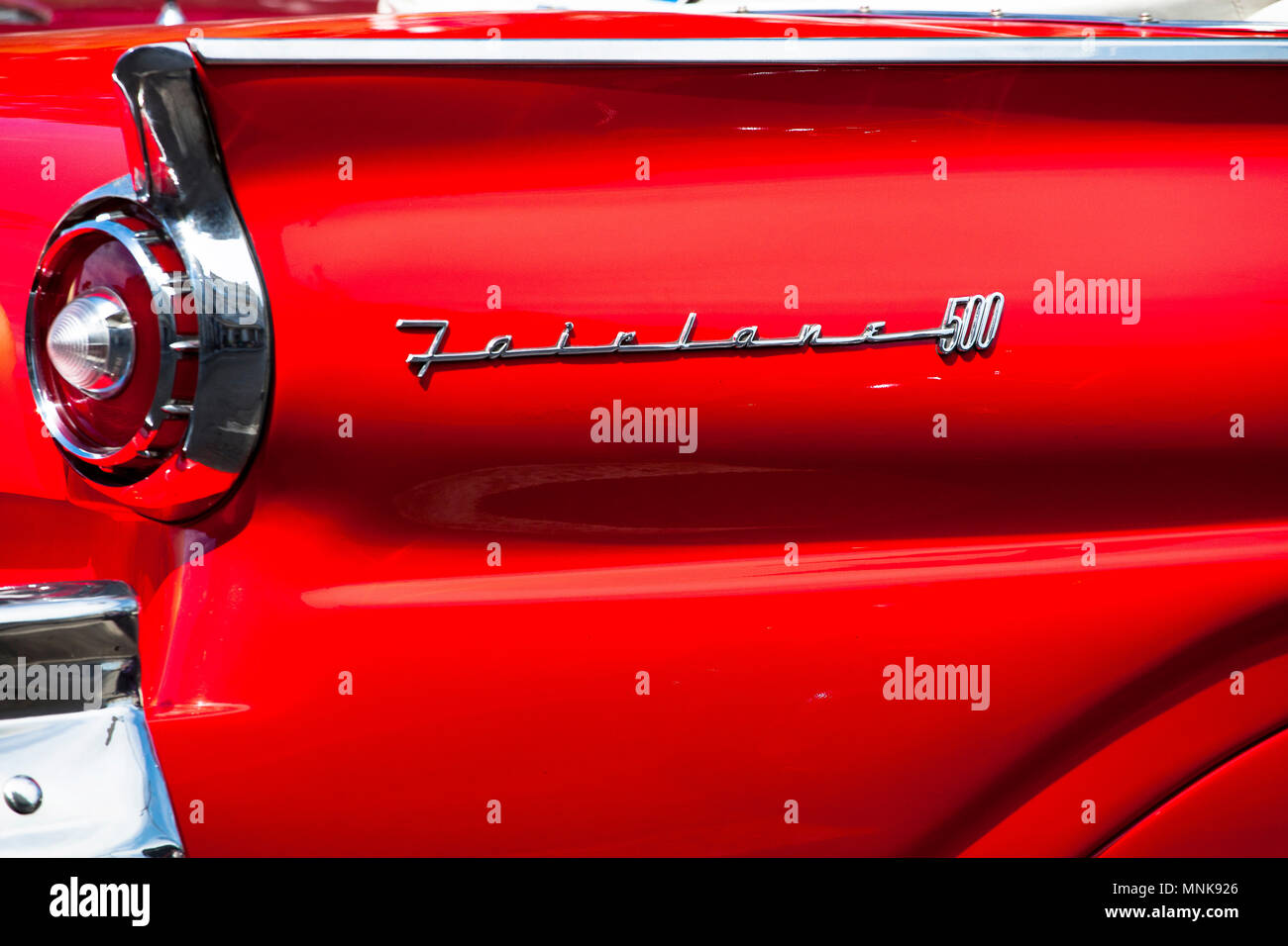 Cuba: rear wing, rear fender of a Fairlane 500 - Stock Image