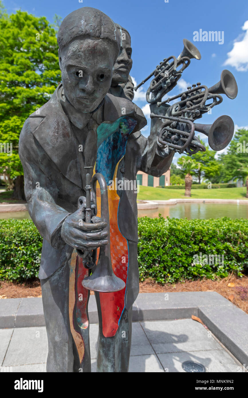 New Orleans, Louisiana - A sculpture of jazz musician Charles 'Buddy' Bolden in Louis Armstrong Park. The sculpture is by Kimberly Dummons. - Stock Image